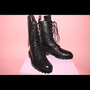 Handmade Italian leather combat boots